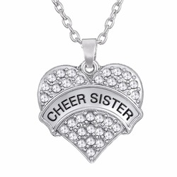 wholesale cheap letter cheer sister heart pendant necklace jewellery