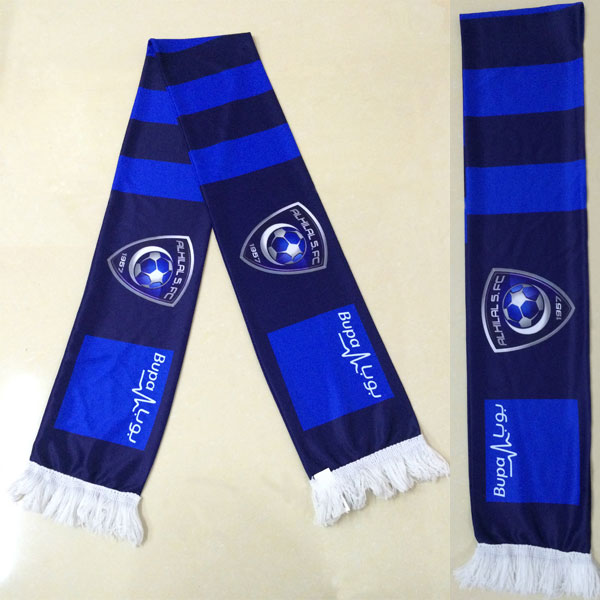 custom uefa euro knitted polyester football scarf factory