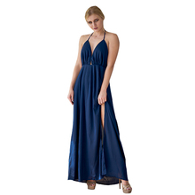 Hot selling Fashion Clothes Women's solid Elegant sleeveless deep v neck halter backless maxi long sexy fat women dresses ladies