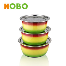 3 -pieces set stainless steel thermal serving bowl with color surface