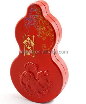 Factory wholesale high quality cucurbit shape embossed gift tin box