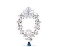 Fashion flower garland shape rhinestone brooch pins for women , rhinestone costume jewelry from china yiwu BRL0179