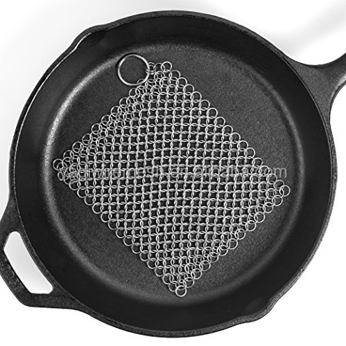 Anping factory stainless steel mesh chainmail /cast iron cleaner xl 7x7 steel chainmail scrubber/steel chainmail scrubber