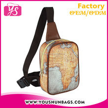 digital printed leather softback sport men sling bag