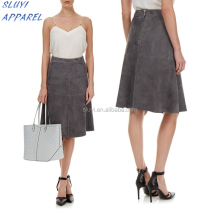Suede deep Grey Midi Skirt ghana celebrities up skirt Wholesale Clothing Adult Tutu style ladies japanese skirts
