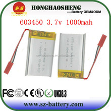 Top selling portable and rechargeable li-ion battery 3.7v 1000mah for tablet pc