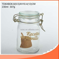 230ml glass storage jar / glass container with ceramics lid