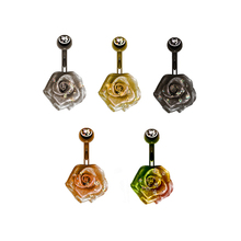 Own Desgin Unique rose flower with glitter powder Piercing Navel Rings belly jewelry