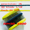 2500pcs 1 4W Metal Film Resistor