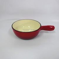 Durable round red enamel coating cast iron milk/soup pot/casserole with handle
