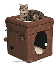 Beneve Pet products Homes for Pets Curious Cat Cube, Brown Suede
