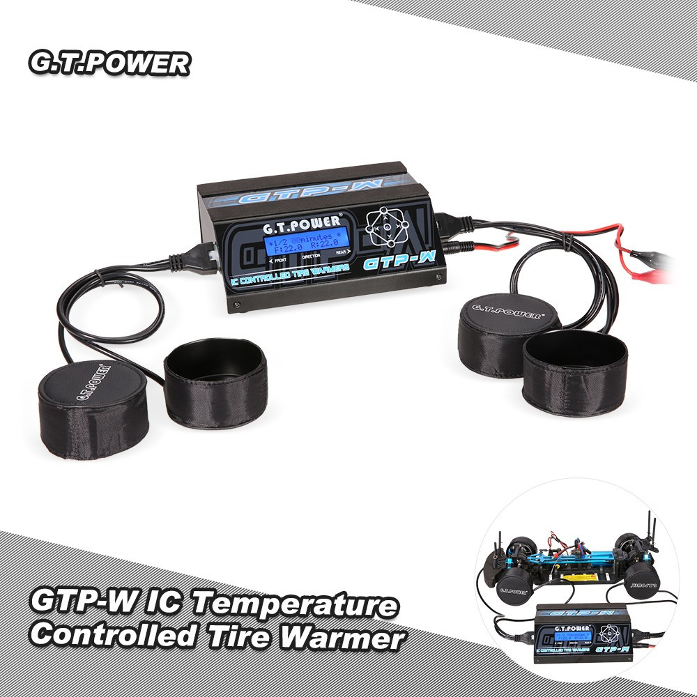 911126-GTP-W IC Temperature Controlled Tire Warmer Cup Heater w/ LCD Display for 1/10 Size Touring Car Pre-heat Rubber Tires