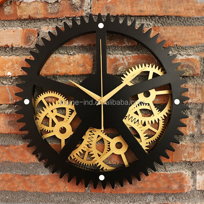 Mechanical Gear wall clock with Vintage style for Wholesale