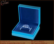 big size blue color leather luxury watch box