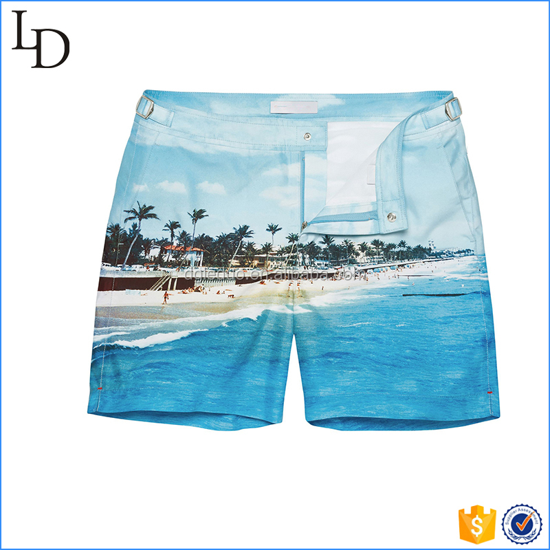 Mesh linning hot sale swim shorts men beach shorts print boxing shorts