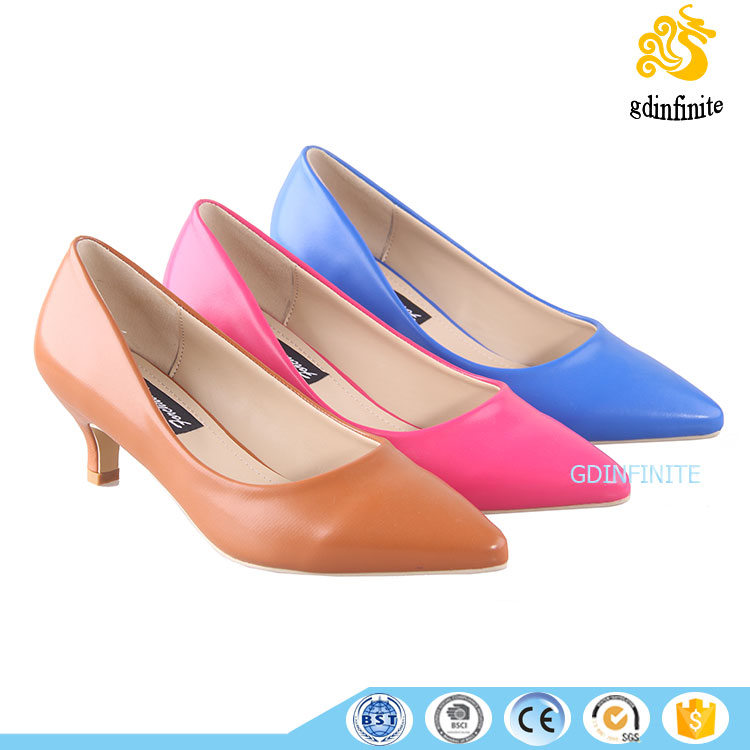 women 2017 new kitten heels pumps candy color pointy toe wedding office work comfort shoes