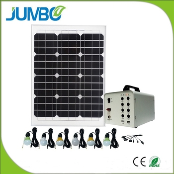 Portable solar power bank system with led bulbs DC fan solar system