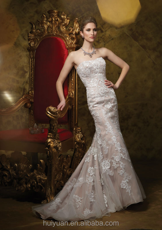 high quality mermaid full lace strapless wedding dresses france