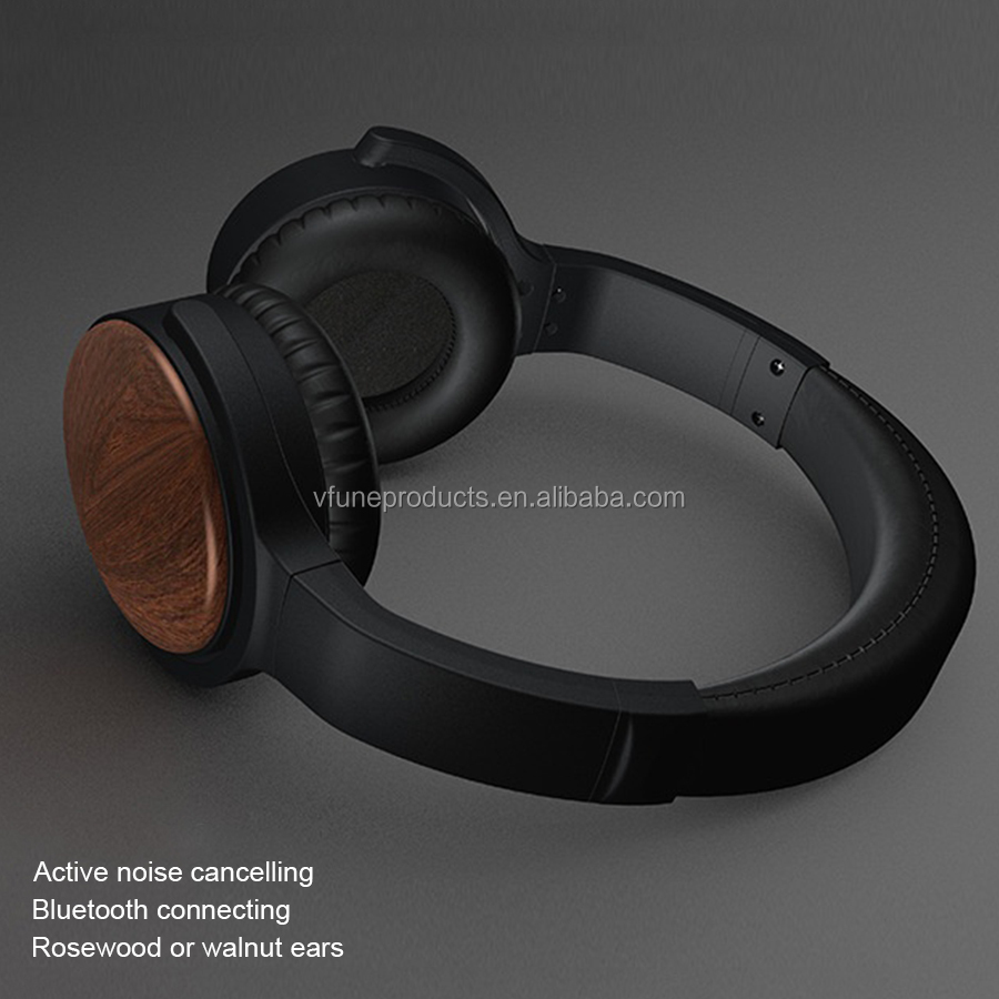 ANC Wooden Wireless Earphones Headphones Over Ear Active Noise Cancelling Headphones Wireless for Samsung iPhone