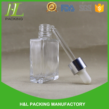 wholesale clear 1oz square ejuice glass perfume bottle 30ml rectanwgle essential oil bottle with childproof cap