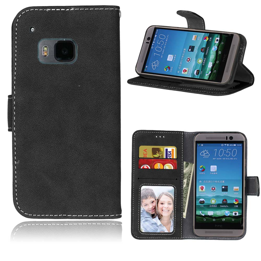 Black Vintage Matte Flip Book Pu Leather Wallet Cover For Htc One M9 M8 Mobile Phone Case