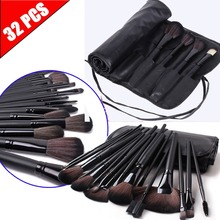 Professional 32 PCS Cosmetic Full Application Wooden Makeup Brushes Tools Set With Travel Bag