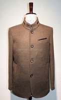 Men Cashmere Coat with leather decoration/Men fashion cashmere overcoat