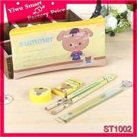 wholesale school supplies season animal design 6pcs pencil case kids school stationery set