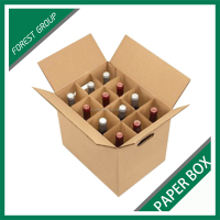 HIGH QUALITY CORRUGATED BROWN 12 PACK BOTTLES WINE SHIPPING CARTON PAPER BOX WITH DIVIDERS