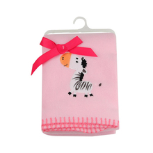 High quality embroidery polyester fleece pink blanket