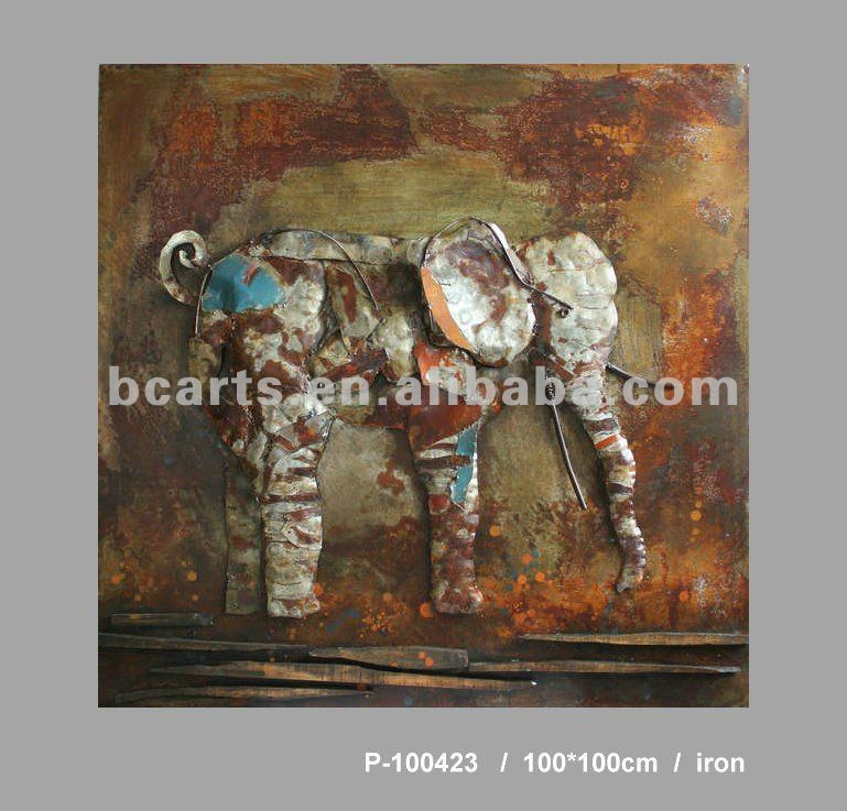 Modern Metal Embossing Elephant paintings