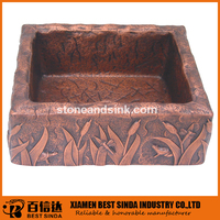 Rectangular bathroom copper sinks with delicate carve patterns