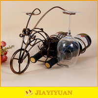 Metal Cute Motorcycle Shaped Decorative Wrought Iron Wine Bottle Holder