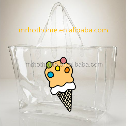 China online women transparent plastic beach bag, large clear PVC tote shopping bag with zipper closure