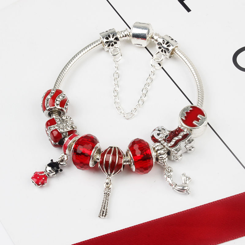 China Wholesale Morocco Style Red Beads Plated Silver Charm Bracelet