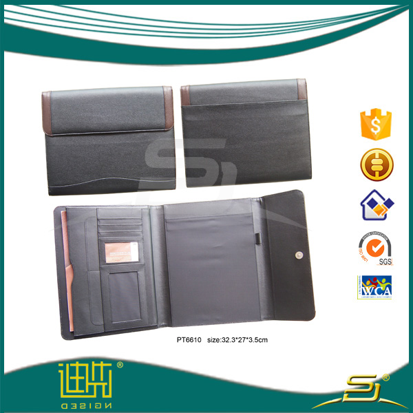 Newest design pu leather A4 portfolio case meeting folder with calculator