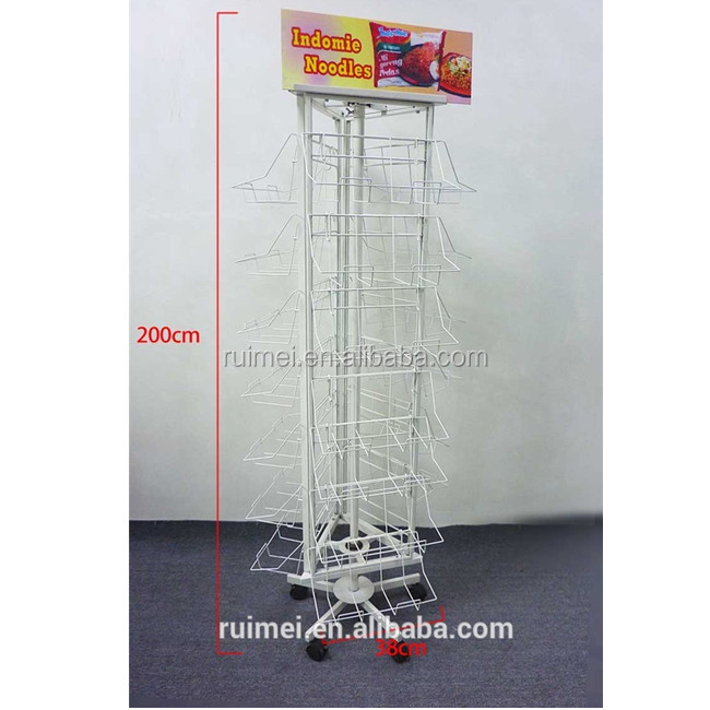 Rotating drum instant noodles package instant noodles food display stand in the shop