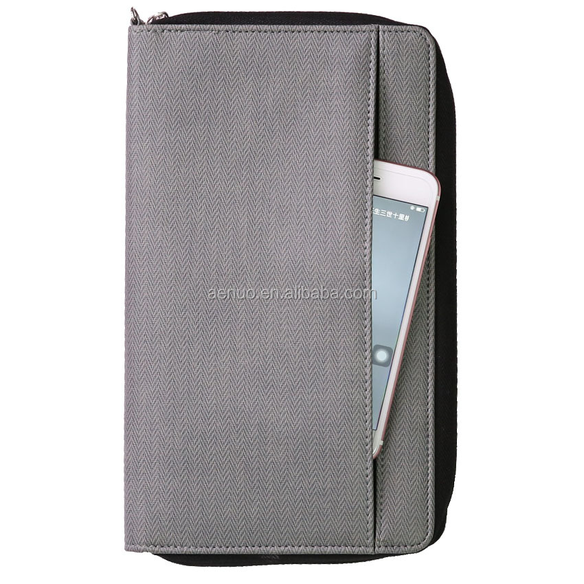 Hardcover PU leather a4 size file folder with powerbank and loop