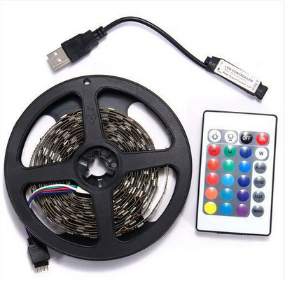 24 Keys Remote Control RGB <strong>LED</strong> Light Strip USB Powered 5V SMD 5050 Flexible Waterproof TV Back light for TV Background Light
