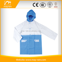 Vigour fashion white with blue foldable waterproof PVC vinyal raincoat