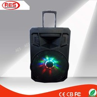 15 inch plastic bluetooth speaker professional boxes with disco light