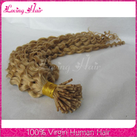 Wholesale curly hair extension virgin cheap 100 human hair color i tip hair extension