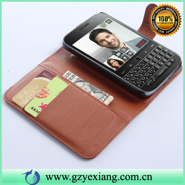 Factory Wholesale Credit Card Wallet PU Leather Back Cover For Blackberry Q20 Case