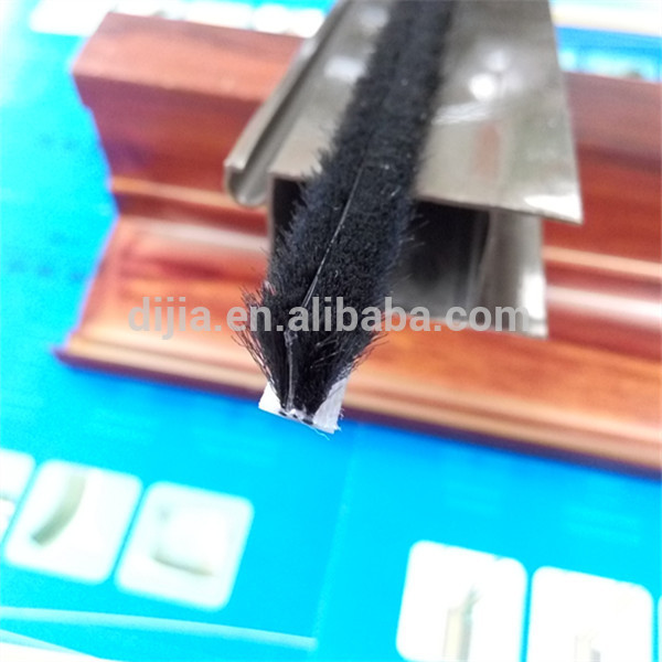 Silicone Wool pile weatherstripping with fin for doors and windows