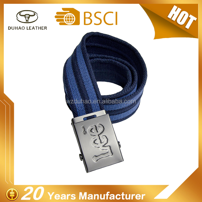 High Quality Custom Iron Buckles Men's Cotton Belt Stripe Design Polyester Belt