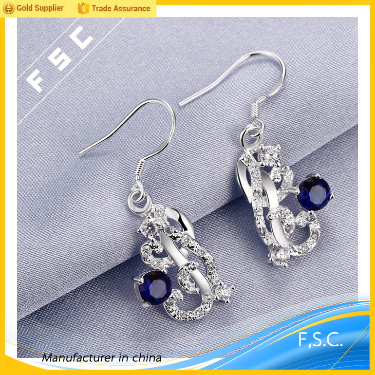 new model unique women baroque sapphire blue cz silver plated copper accessories dangle pendant earings