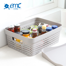Wholesale fancy large stackable mesh rectangular plastic storage box with lid