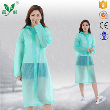portable waterproof pvc raincoat rain poncho with customized logo long pvc green raincoat with sleeves