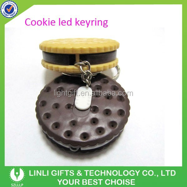 Bakery's Promotioanl Gifts Cookie-shaped Plastic Led Flashing Keychain