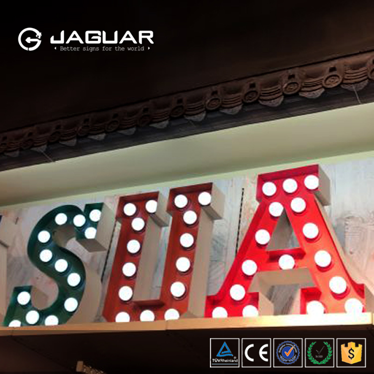 Factory sale indoor decoration led alphabet letter light up letters with light bulbs